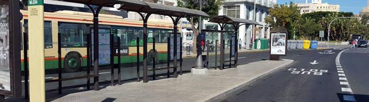 El Consorcio de Transportes de la Bahía de Cádiz finaliza las obras de mejora de las paradas de autobús del Trocadero