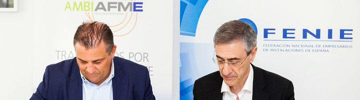 AMBILAMP/AMBIAFME y FENIE suscriben un acuerdo de colaboración para fomentar el reciclaje de RAEE entre los instaladores