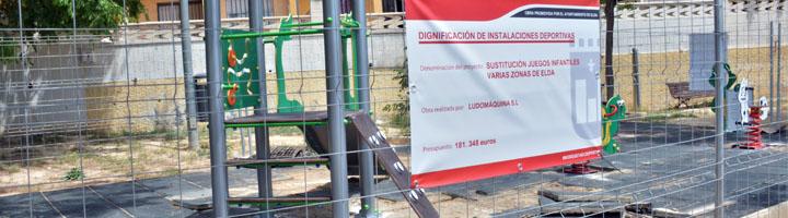 Comienza la renovación de los juegos infantiles de los diferentes parques y jardines de Elda