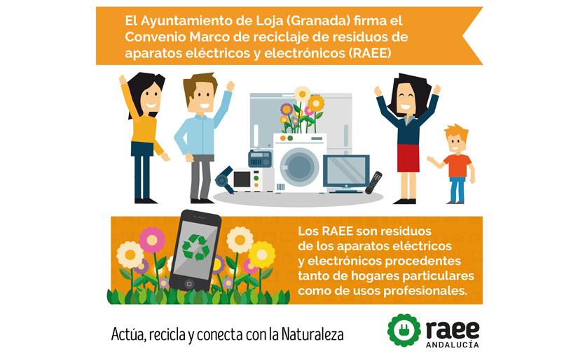 El Ayuntamiento de Loja (Granada) firma el convenio marco para el reciclaje de residuos de aparatos eléctricos y electrónicos