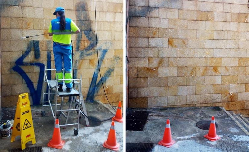 EMAYA elimina durante el mes de agosto pintadas vandálicas ubicadas en 15 espacios públicos