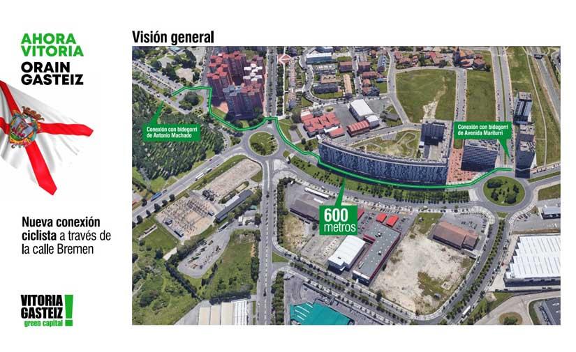 En Vitoria, la creación de 8 kilómetros de vías ciclistas avanza con la creación del bidegorri de la calle Bremen