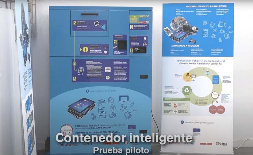 Getxo participa en una nueva prueba piloto para la recogida de dispositivos electrónicos mediante contenedor inteligente