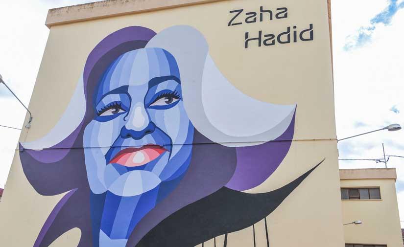 La UPV y Las Naves presentan un espectacular mural en homenaje a la arquitecta Zaha Hadid