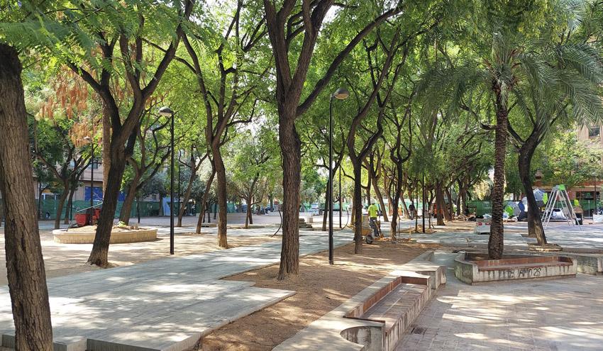 Las obras del jardín de la plaza de Manuel Granero en Valencia encaran su recta final