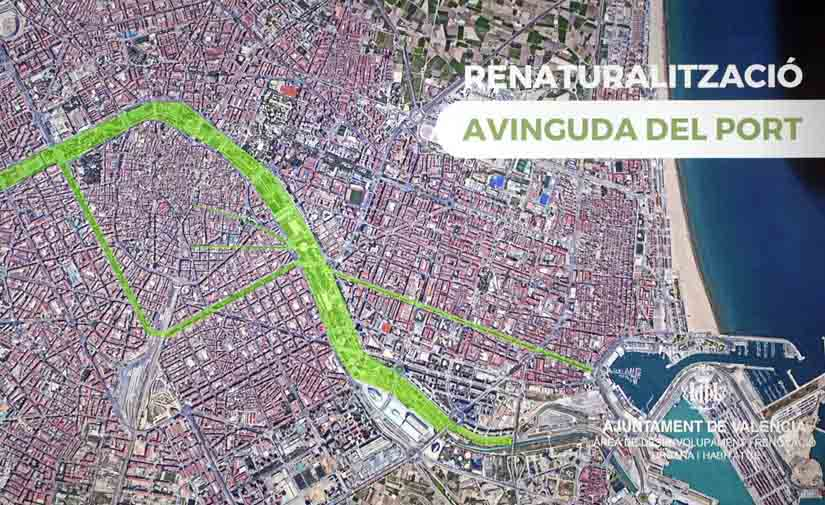Más zonas verdes y peatonales en la Avenida del Puerto de Valencia