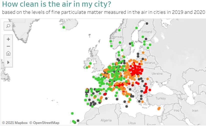 Nuevo visualizador europeo de la calidad del aire urbano