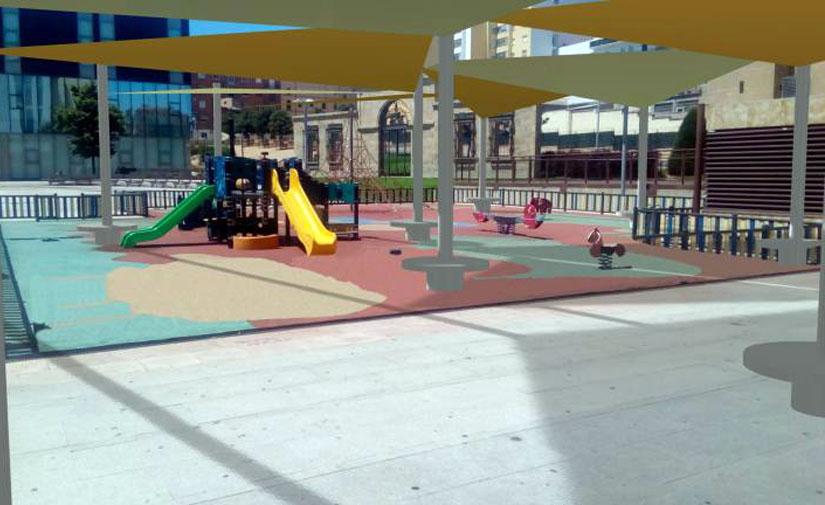 Salamanca inicia la ampliación de la zona de juegos infantiles de la Plaza de la Concordia con nuevas estructuras de sombra