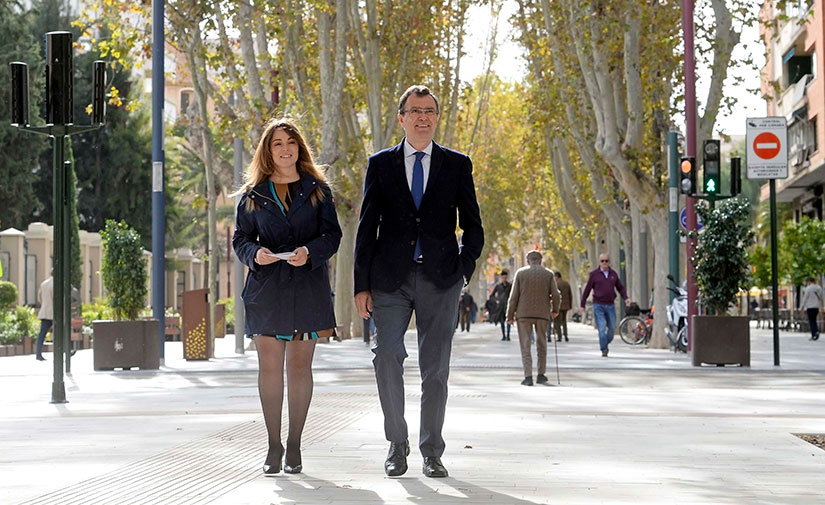 Se abre al público el paseo Alfonso X de Murcia, el itinerario peatonal más importante de la ciudad