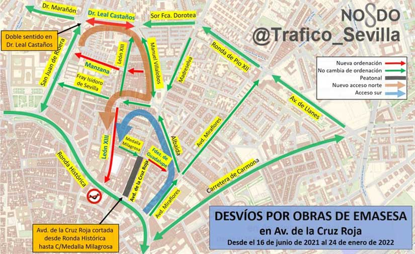 Sevilla inicia las obras de transformación urbana y medioambiental de la Avenida de la Cruz Roja