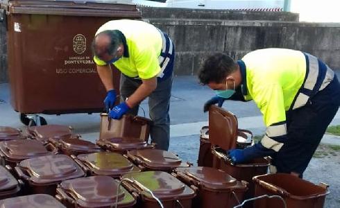 Comienza la colocación y distribución de los contenedores marrones del Plan Composta de Pontevedra