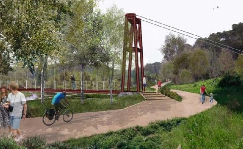 El AMB comienza la construcción de la primera pasarela colgante peatonal sobre el Río Ripoll a Barberá del Vallés