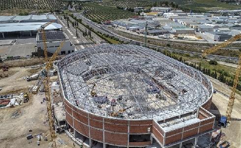 Las obras del palacio de deportes Olivo Arena de Jaén avanzan según lo previsto