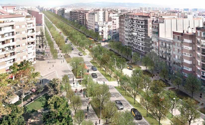 Todo listo para el inicio de la transformación de un nuevo tramo de la avenida Meridiana de Barcelona