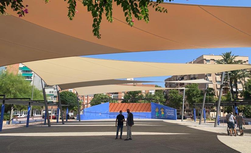 Un toldo de 1.000 m2 cubre el anfiteatro de La Seda en Murcia