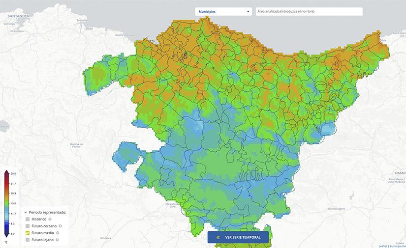 Un visor de escenarios climáticos para analizar el impacto del calentamiento global en el País Vasco