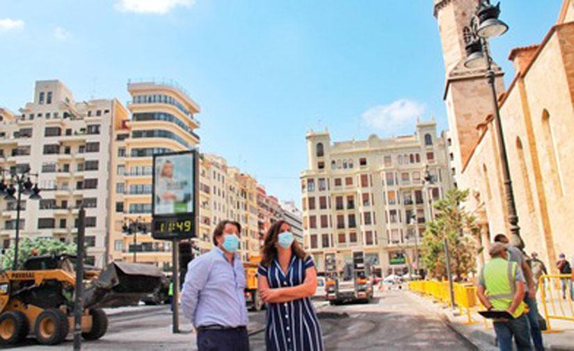 Valencia concluirá las obras de peatonalización de las plazas del Ayuntamiento y San Agustín en agosto
