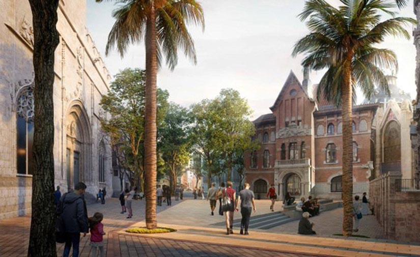 Valencia invertirá 3,2 millones en el entorno de la Lonja-Mercado Central -plaza Ciudad de Brujas-Santos Juanes