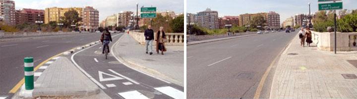 Valencia cuenta con nuevos tramos de carril bici en los Puentes de Las Artes y Ángel Custodio